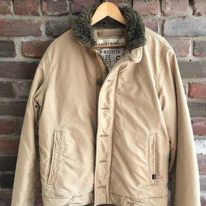Men's Abercombie Winter Coat - Tan, Size Small
